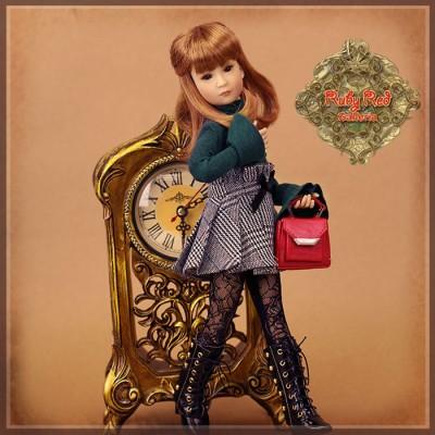 Ensemble Pull et Jupe Prince de Galles pour poupée Rubyred 30 Cm