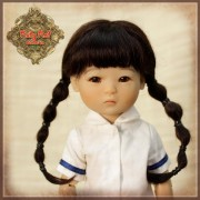 Perruque Brune nattes à élastiques pour poupée Ten Ping 8 inch Ruby Red