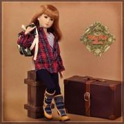 Tenue Boy Style Chemise carreaux et pantalon pour poupée Rubyred 30 Cm