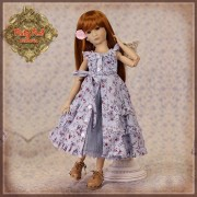 Ensemble Robe bleue fleurie pour poupée Rubyred 30 Cm