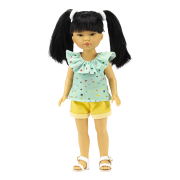 Poupée Umi Short jaune et Blouse verte - Vestida de Azul