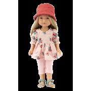 Poupée Carlota Pantacourt rose et chapeau - Vestida de Azul
