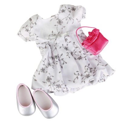 Set Robe Rose et Sac blanc pour Poupée 42-50 Cm