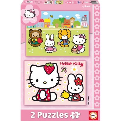 2 Puzzles Hello Kitty - 2 x 20 Pièces