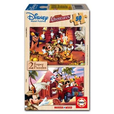 2 Puzzle bois Mickey - 2 x 50 Pièces