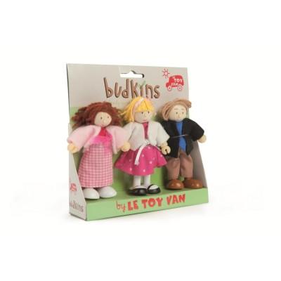 Famille de 3 poupées en bois