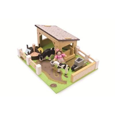 Set Etable jaune avec les Vaches en bois
