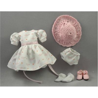 Set Robe Colombes roses et chapeau Poupée Heartstring