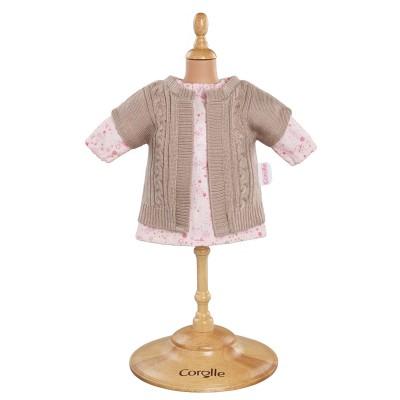 Robe rose et Gilet Poupée 36 Cm