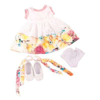 Robe blanche à fleurs et chaussures pour Poupée 45-50 Cm