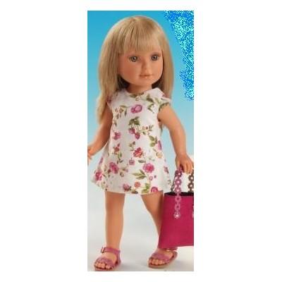 Paulina Blonde robe fleurie et brodée