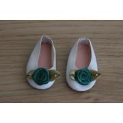 Ballerines blanches fleur verte pour Amigas